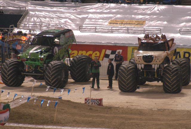 Grave Digger vs. Taz monster truck
